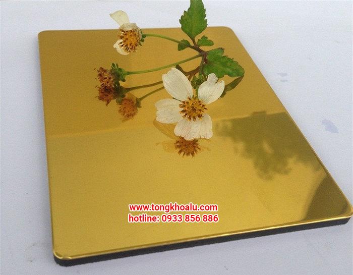 Tấm alu gương vàng - alcorest gương - triều chen gương vàng