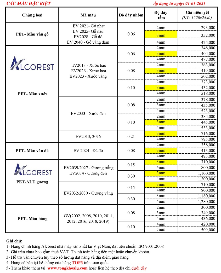 bảng báo giá alu alcorest màu đặc biệt