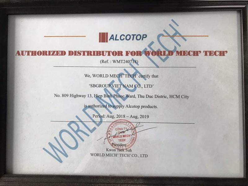 Chứng chỉ đại lý chính hãng từ công ty Alcotop